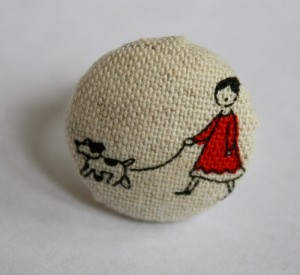 Lady and dog fabric covered ring 2