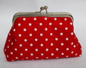 Red polka dot frame purse
