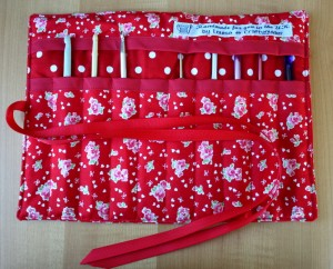 Red floral crochet hook roll