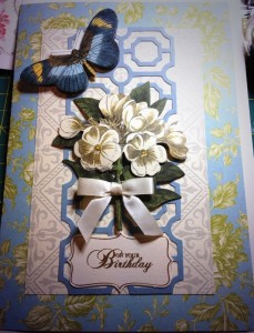 handmade birthday card flowers and butterfly