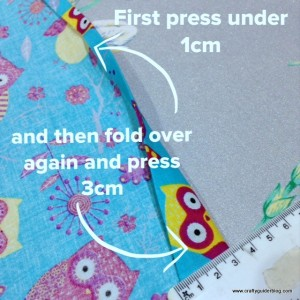 book bag tutorial hem top and bottom