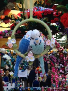 Knitted budgies pergola