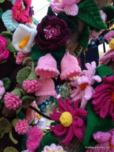 Knitted flowers pergola