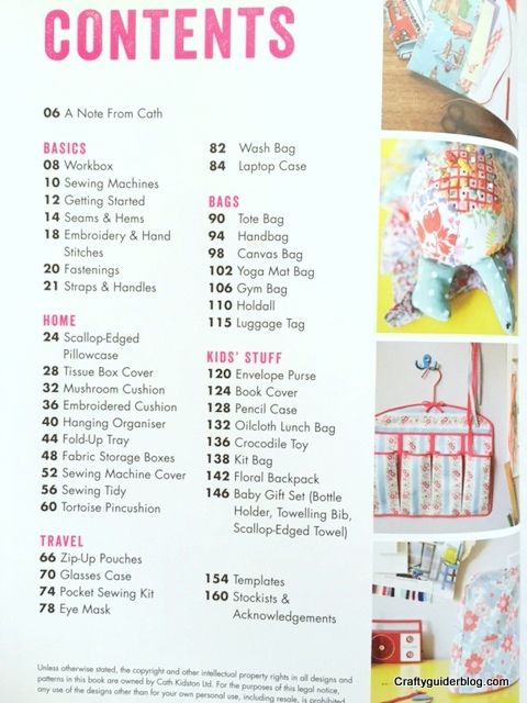 Cath Kidston Sewing Book Contents