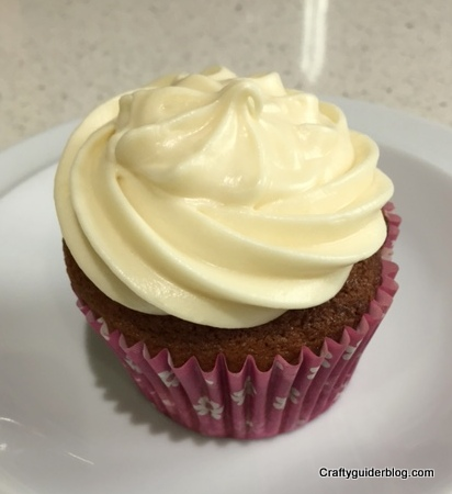 Gluten free baking  book Banana muffin with maple cream frosting